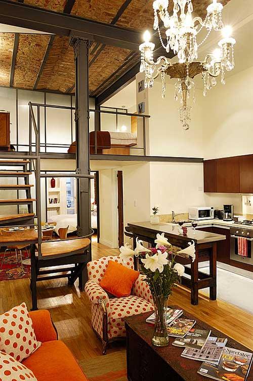 Apart Hotel Buenos Aires Stairs Sofa Chandelier Bed Loft Orange
