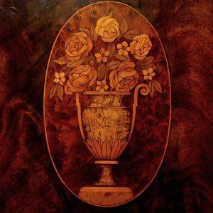 In Laid Wood Image Flowers In Vase