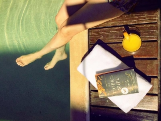 Legs And Feet Dipping Into Pool Book The Tiger's Wife Orange Juice