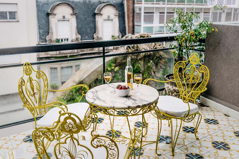 Luxury Rental Apartments Buenos Aires Balcony Front View Table Chairs Wine