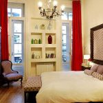 Luxury Rental Apartments Buenos Aires Bedroom Headboard Oval Mirror Red Curtains