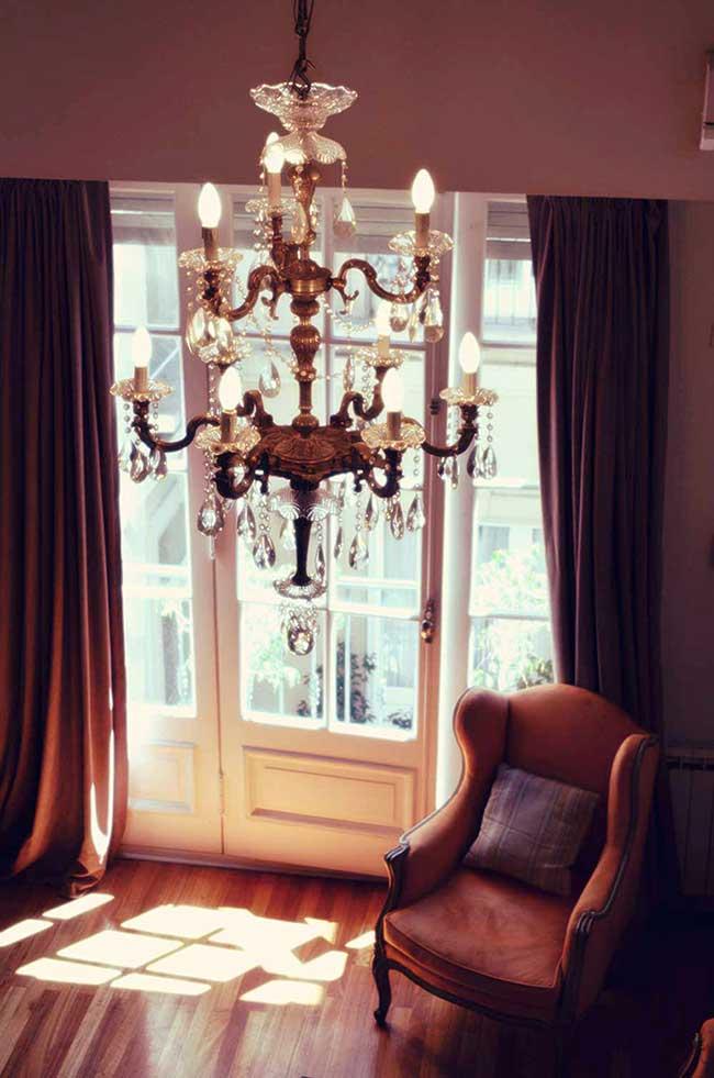 Luxury Rental Apartments Buenos Aires Chandelier Sofa Orange Antique Window Curtains