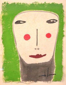 Painting Milo Lockett Green Background Large Face