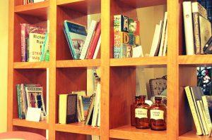 Wood Shelf Books Old Pharmaceutical Bottles